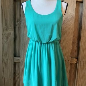 Lush Nordstrom Teal Sheer Blouson Skater Dress S